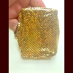 Vintage Gold Chainmail Coin Purse with Key Ring